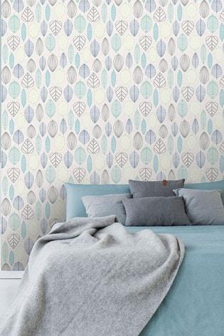 Art For The Home Blue Superfresco Easy Scandi Leaf Wallpaper