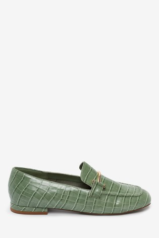 Green Croc Effect Square Toe Snaffle Loafers