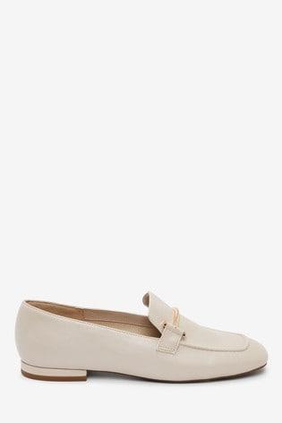 Bone Square Toe Snaffle Loafers