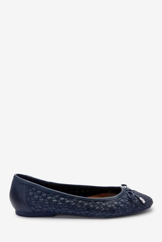 Navy Leather Weave Ballerina Shoes