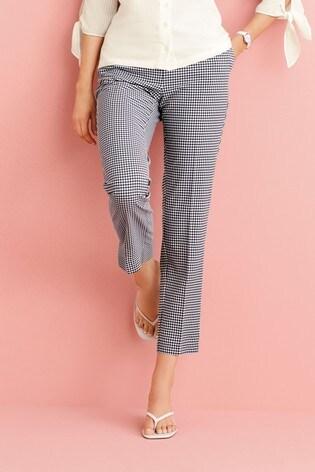 Navy Gingham Slim Trousers