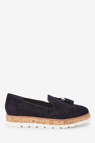 Navy EVA Cork Leather Slipper Shoes