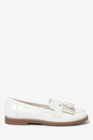 White Crepe Sole Loafers