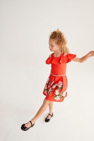 Baker by Ted Baker Girls Orange Floral Off the Shoulder Dress