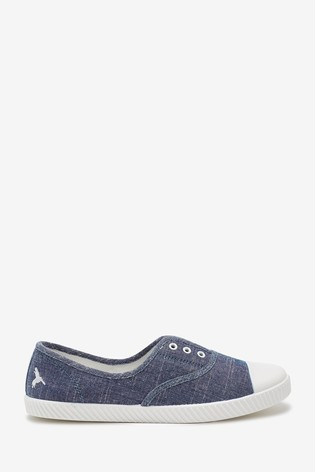 Navy Laceless Canvas Shoes