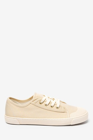 Neutral Check Retro Low Canvas Trainers