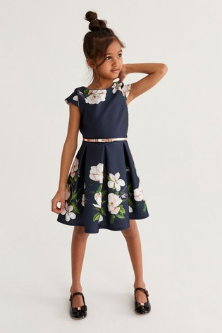 Baker by Ted Baker Girls Navy Floral Prom Dress