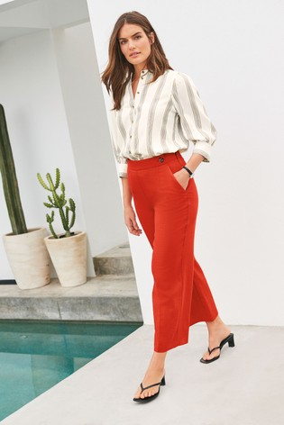 Red Cropped Wide Leg Trousers