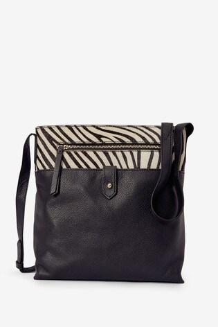 Black Zebra Leather Messenger Across-Body Bag