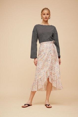 Great Plains White Flo Cotton Ruffle Midi Skirt