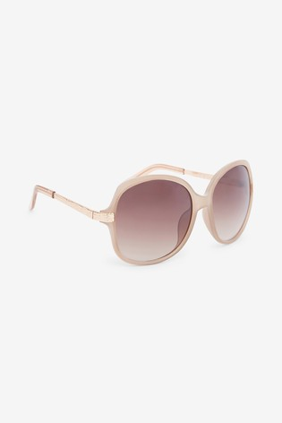 Nude Oversized Round Sunglasses