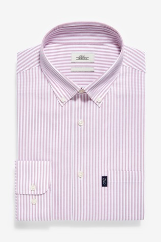 Pink Stripe Slim Fit Single Cuff Easy Iron Button Down Oxford Shirt