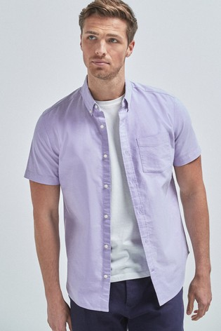 Lilac Regular Fit Short Sleeve Oxford Shirt