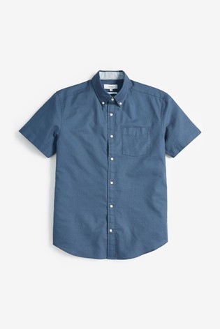 Dark Blue Regular Fit Short Sleeve Oxford Shirt