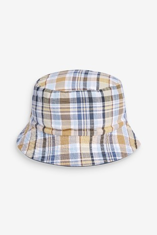 Neutral Check Reversible Bucket Hat
