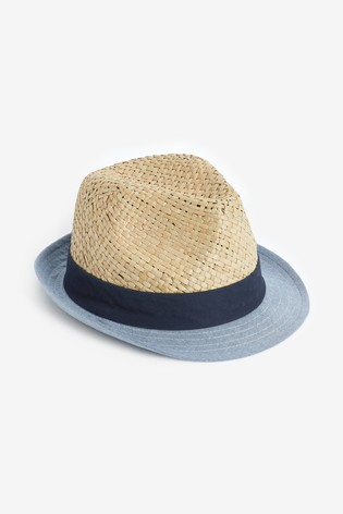Natural Blue Brim Trilby Hat