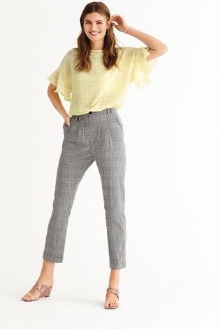 Monochrome Check Peg Trousers
