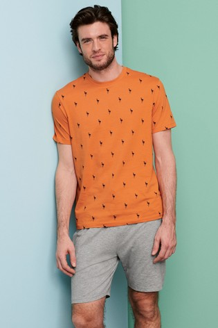 Orange Palm Print Short Pyjama Set