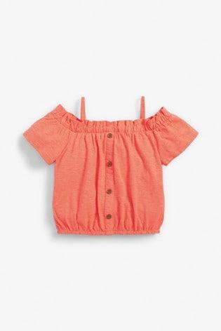 Fluro Orange Strappy Bardot Top (3-16yrs)