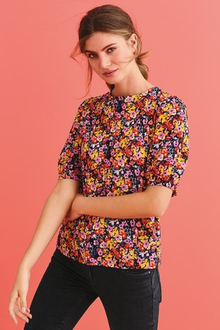 Floral Ditsy Button Back Top