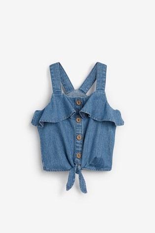 Denim Button Through Tie Front Blouse (3-16yrs)