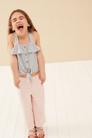 Blue/White Stripe Button Through Tie Front Blouse (3-16yrs)
