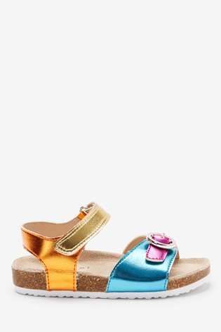 Rainbow Corkbed Leather Buckle Sandals (Younger)