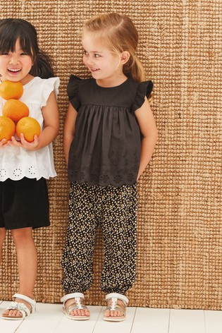 Charcoal Woven Front Jersey Back Blouse (3mths-7yrs)