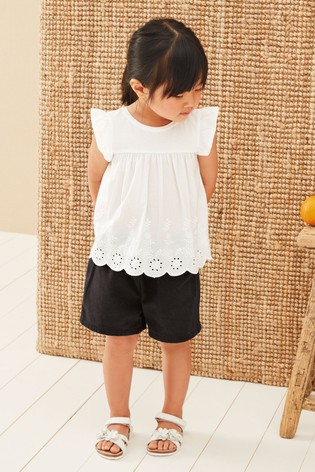 White Woven Front Jersey Back Blouse (3mths-7yrs)