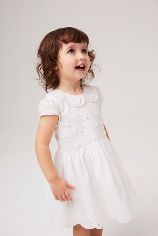 White Embroidered Shirred Prom Dress (3mths-7yrs)