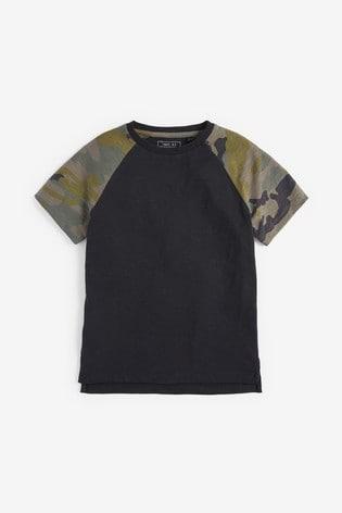 Khaki/Black Camouflage Raglan T-Shirt (3-16yrs)