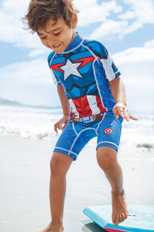 Blue Captain America Sunsafe Swimsuit (3mths-8yrs)