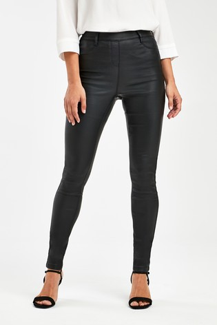 Black Pull-On Coated Leggings