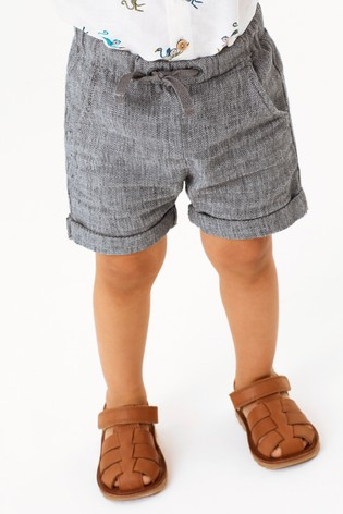 Grey Linen Blend Pull-On Shorts (3mths-7yrs)