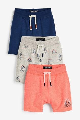 Multi 3 Pack Shark Shorts (3mths-7yrs)
