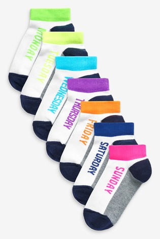 White 7 Pack Cotton Rich Day Of The Week Trainer Socks (Younger)