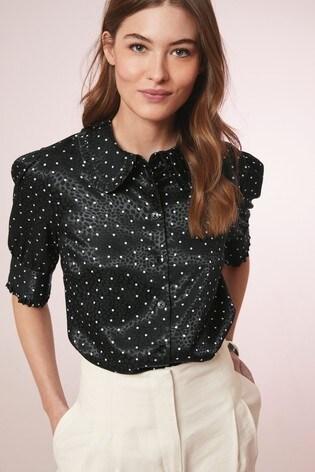 Black Spot Jacquard Ruffle Shirt