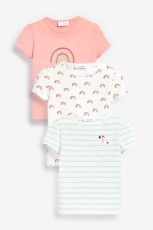 Multi 3 Pack Flamingo Tops (0mths-2yrs)