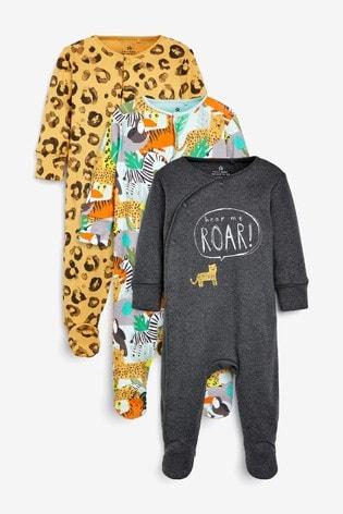 Ochre 3 Pack Leopard Jungle Sleepsuits (0mths-2yrs)