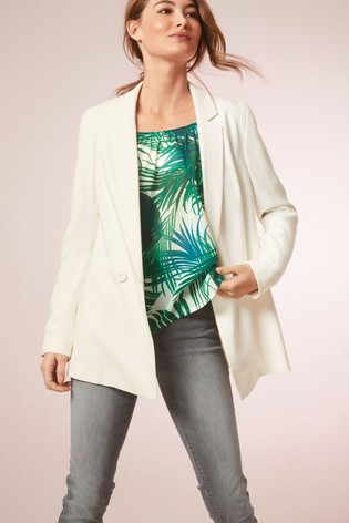 Cream Double Breasted Relaxed Suit Jacket