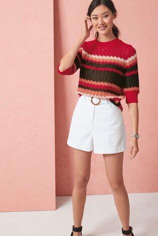 White Belted High Waist Denim Shorts