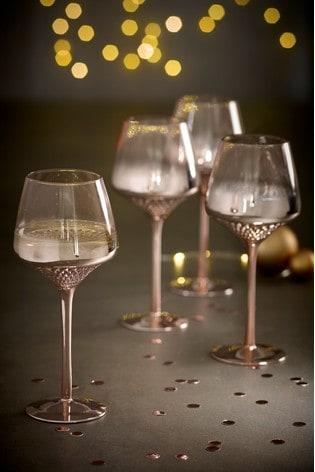 Rosa Metallic Embossed Set of 4 Wine Glasses