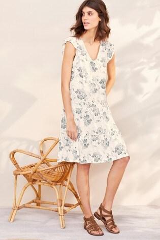 White V-Neck Frill Sleeve Dress