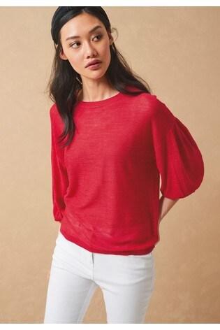 Red Linen Blend Volume Sleeve Jumper