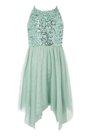 Monsoon Green Truth Sage Sequin Hanky Hem Dress