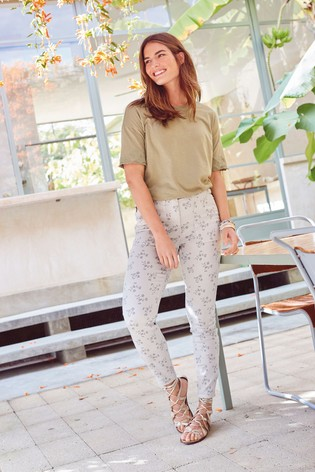 Grey Floral Utility Skinny Trousers