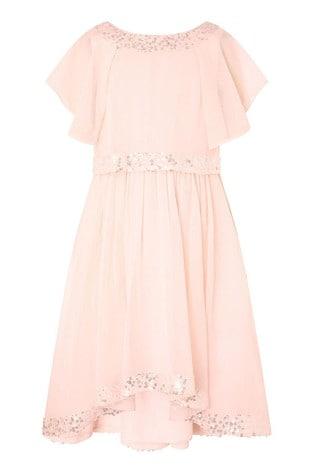 Monsoon Orange Meghan Hi Low Sequin Dress