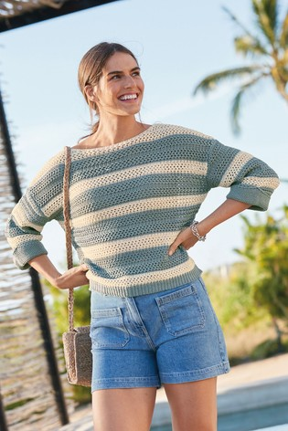 Blue Stripe Stitchy Boat Neck Jumper
