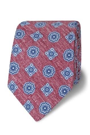 T.M. Lewin Slim Red Geometric Silk Tie