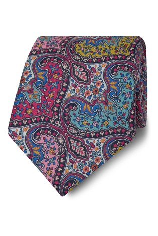 T.M. Lewin Liberty Fabric Wide Pink Spitalfields Cotton Tie